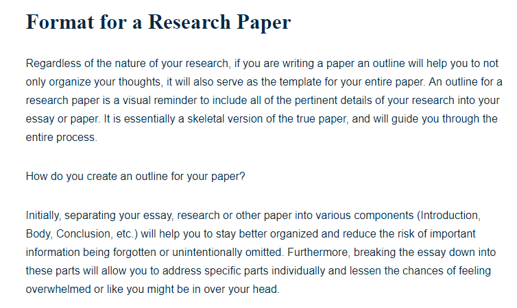 Format For A Research Paper A Research Guide For Students
