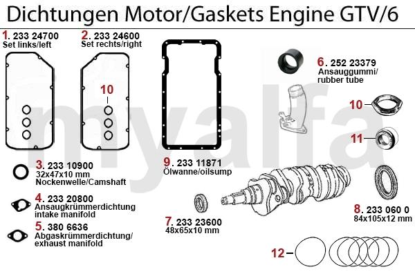 Alfa Romeo ALFA ALFETTA GT/V 4/6 Engine, Engine Parts