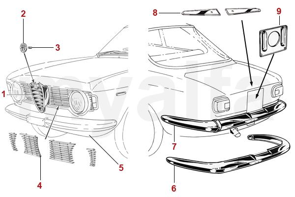 Alfa Romeo ALFA GIULIA GT BERTONE CHROME PARTS 1963-66