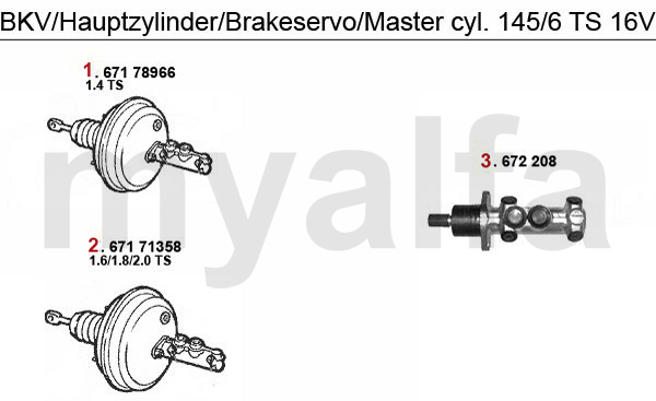 Alfa Romeo ALFA 145/146 BRAKE SERVO/BRAKE MASTER CYL. TS