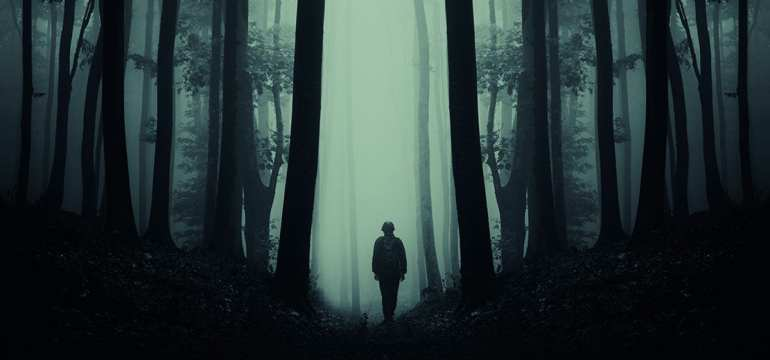 Man standing alone in forest