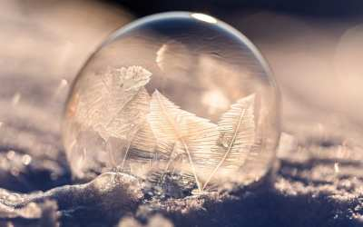 frozen soap bubble in winter