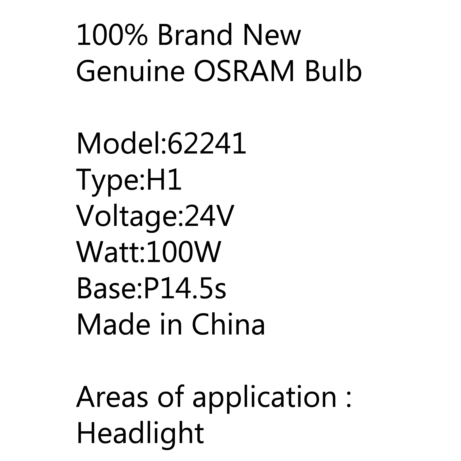 Osram H1 100w P14 5s Super Rallye Off Road Halogen