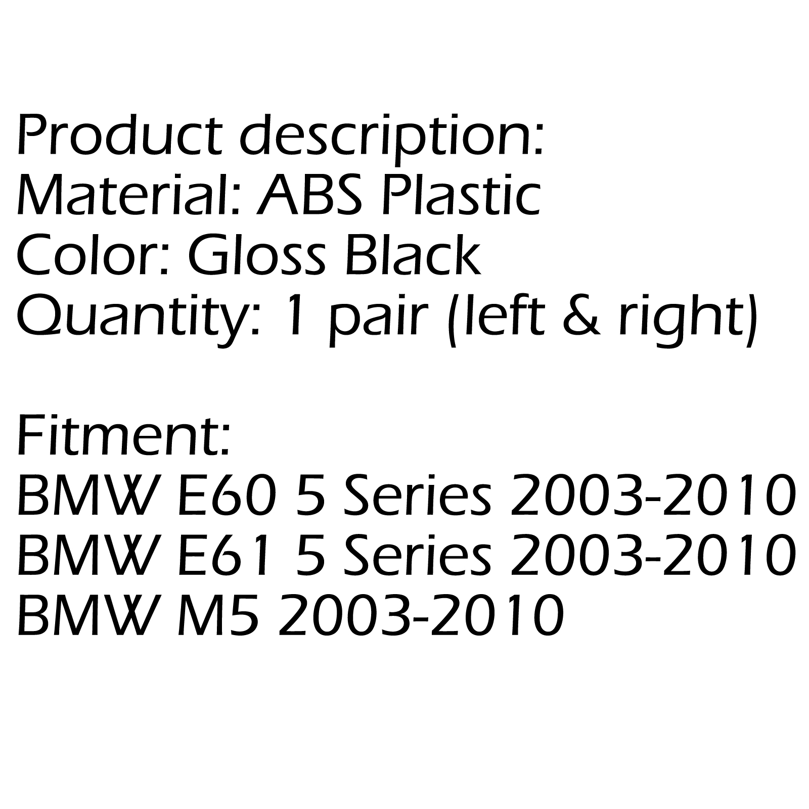 Front Gloss Black Sport Wide Grille For Grill-BMW E60 E61
