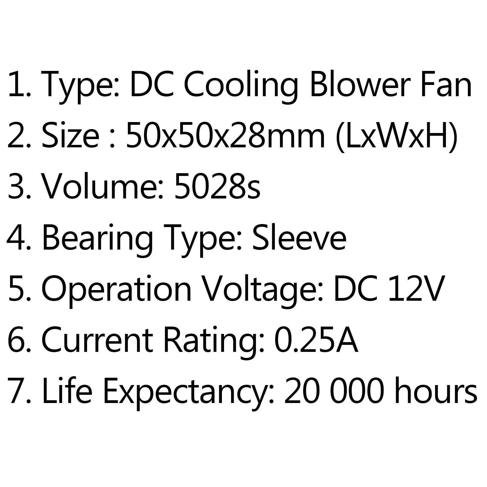 DC Brushless Cooling PC Computer Fan 12V 5028s 50x50x28mm