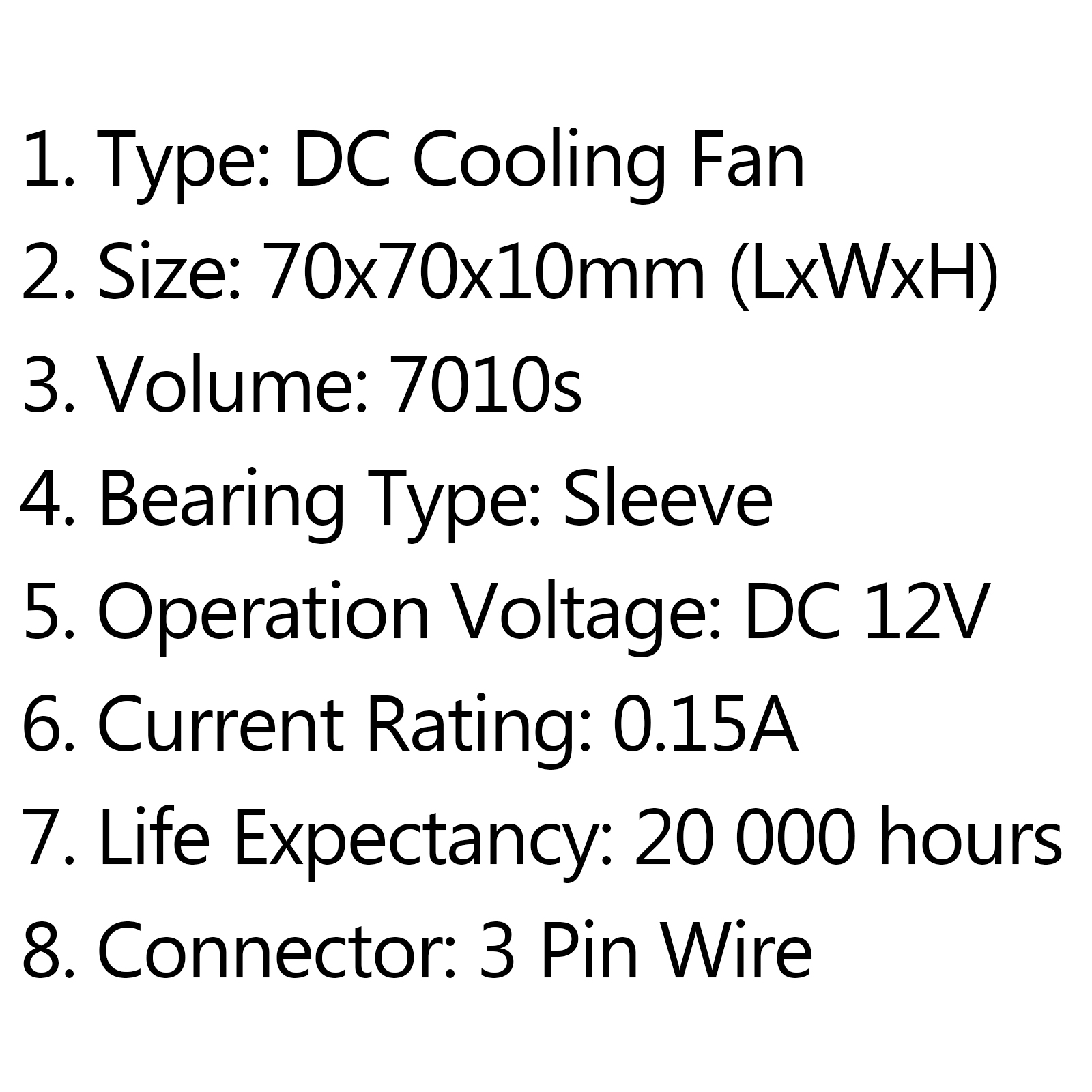Dc Brushless Cooling Pc Computer Fan 12v S 70x70x10mm 0 15a 3 Pin Wire A0