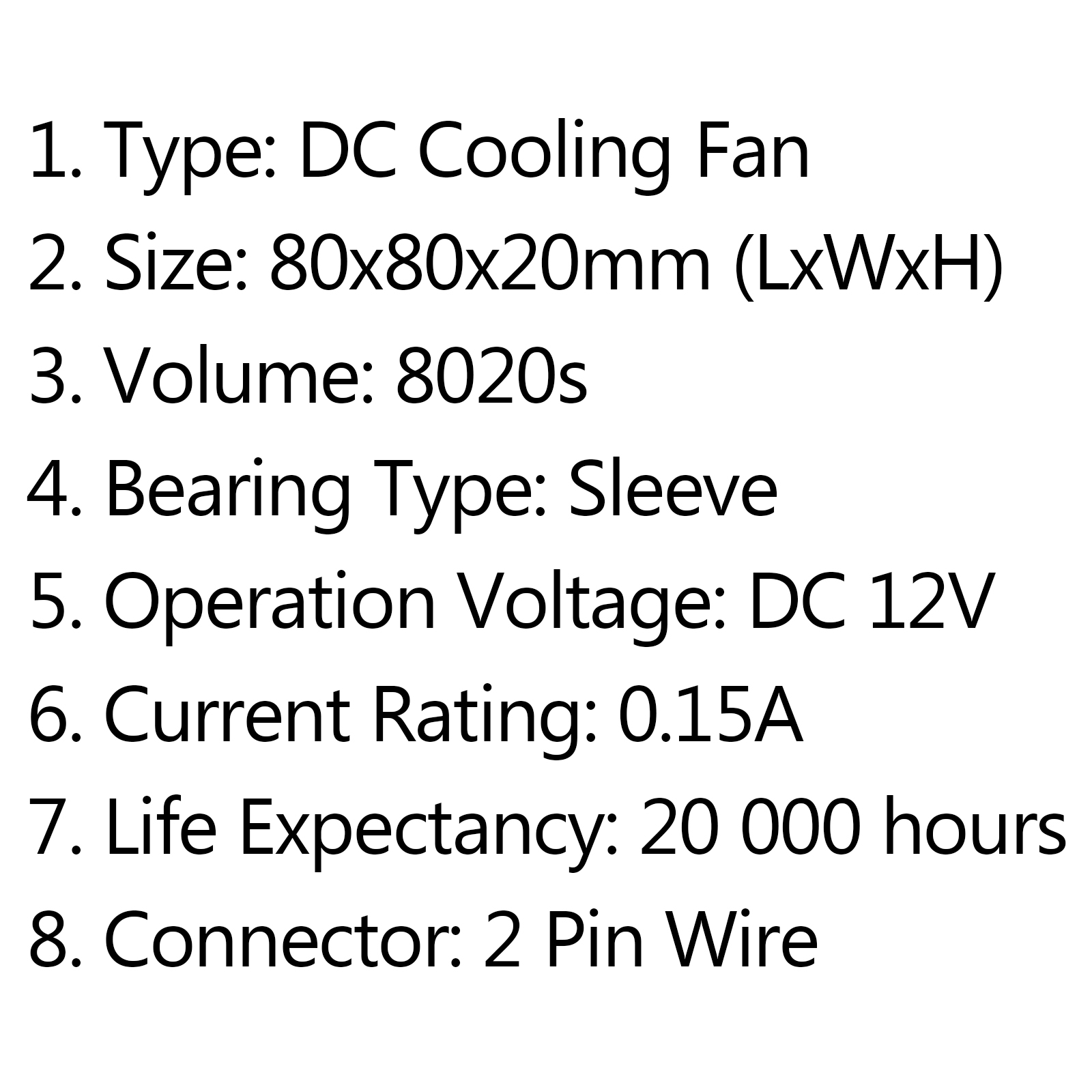 Dc Brushless Cooling Pc Computer Fan 12v S 80x80x20mm
