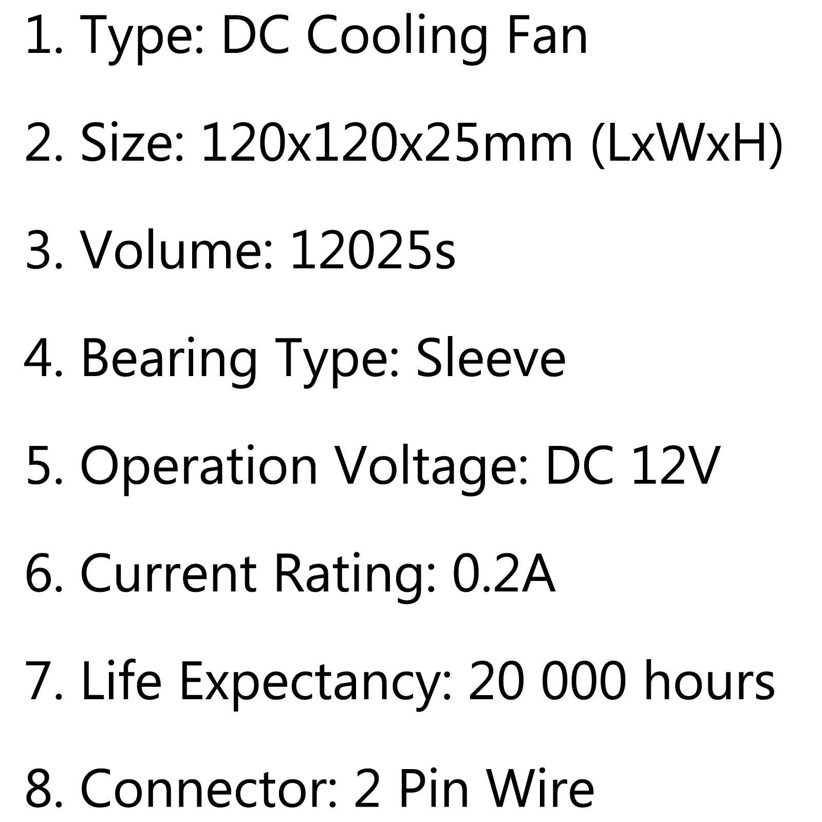 Dc Brushless Cooling Pc Computer Fan 12v S 120x120x25mm 0 2a 2 Pin Wire Au5