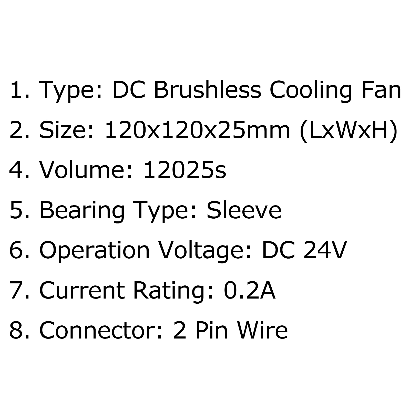 DC Brushless Cooling Blower Fan 24V 0.2A 12025s