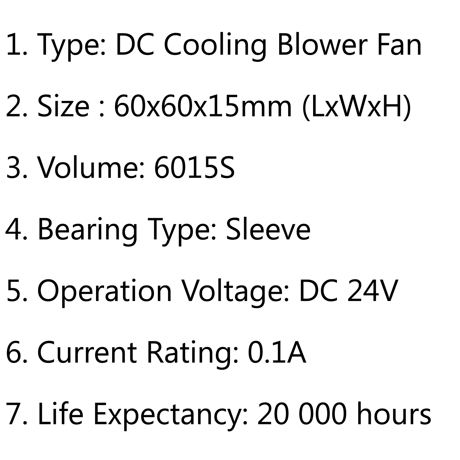 Brushless DC Cooling Blower Fan 24V 6015S 60x60x15mm 0.1A