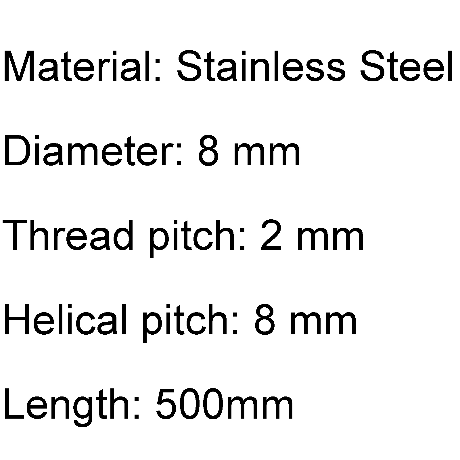 500mm Accessory Stainless Steel T8-2-D8 Trapezoidal Lead