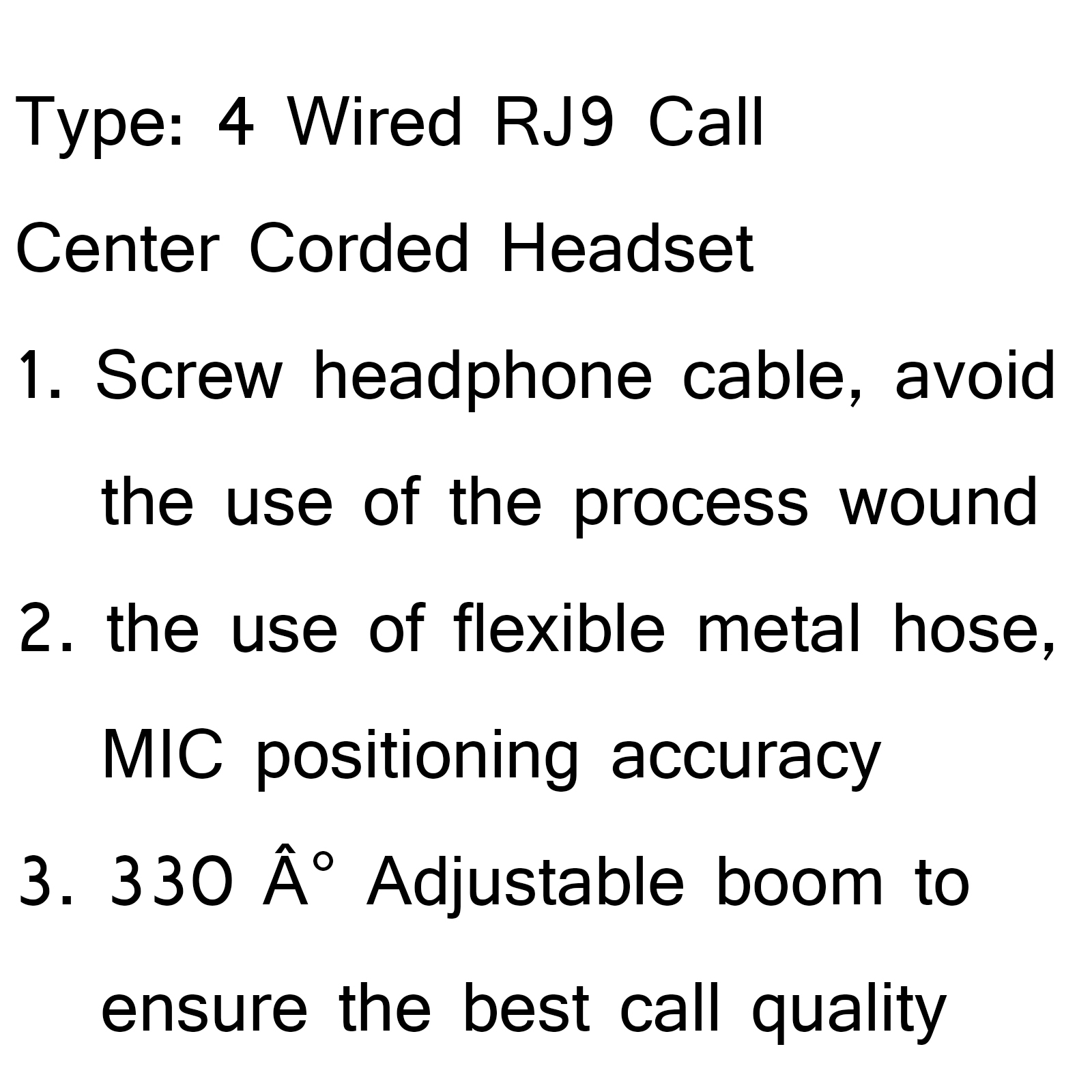 1Pcs 4 Wired RJ9 Call Center Corded Operator Telephone Mic