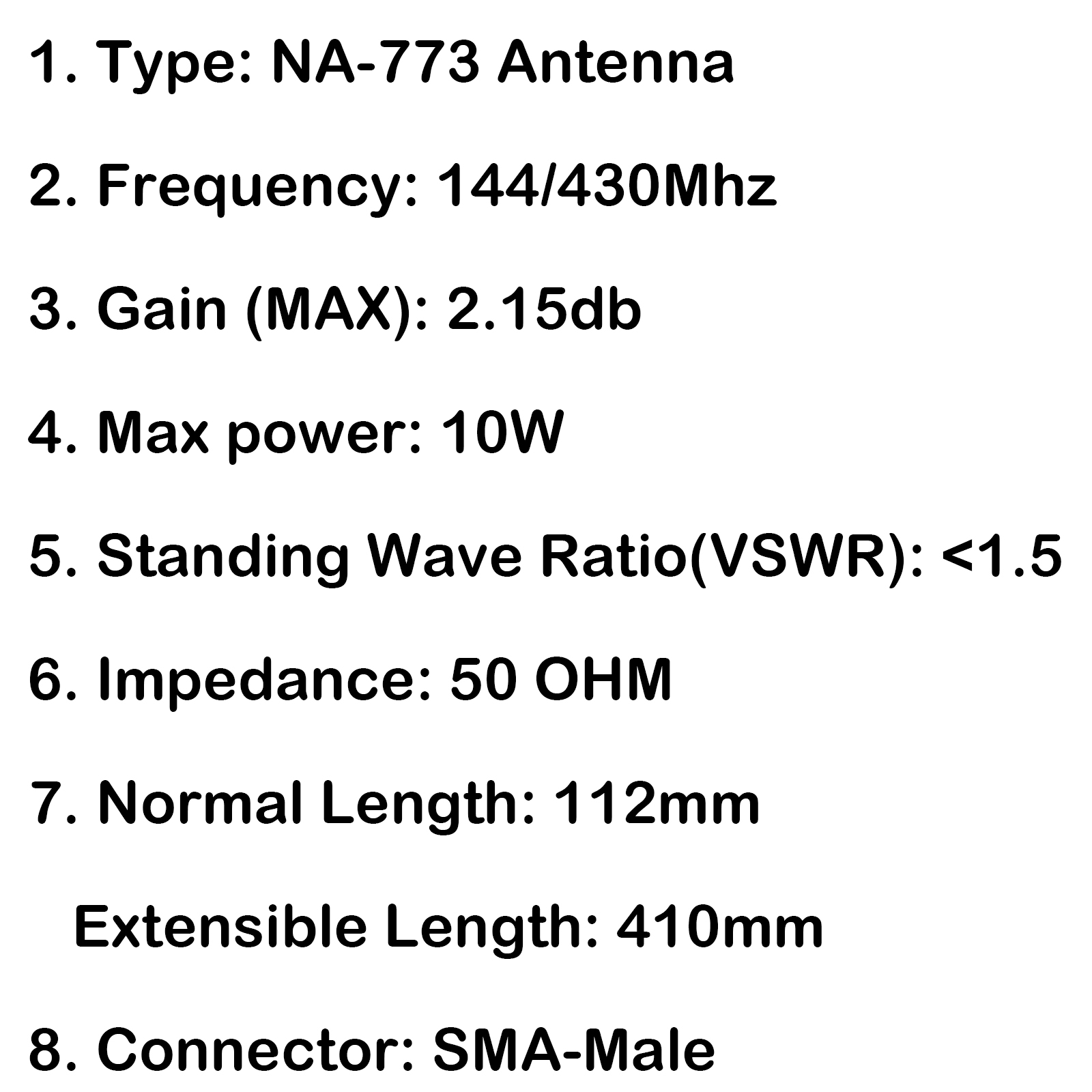 1x Nagoya Na 773 Sma Male Uhf Vhf Telescopic Dual Band