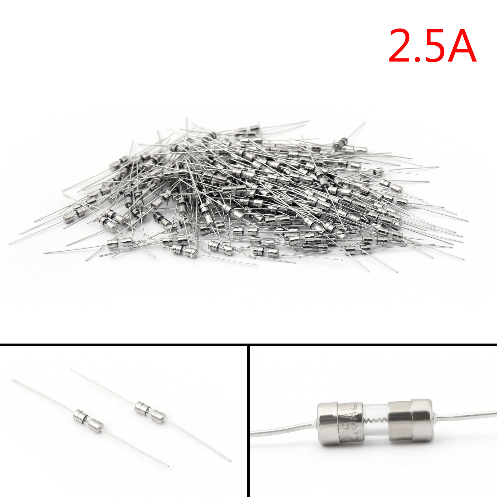 200pcs Glass Tube Fuse Metal Axial Double Hat Slow Blow