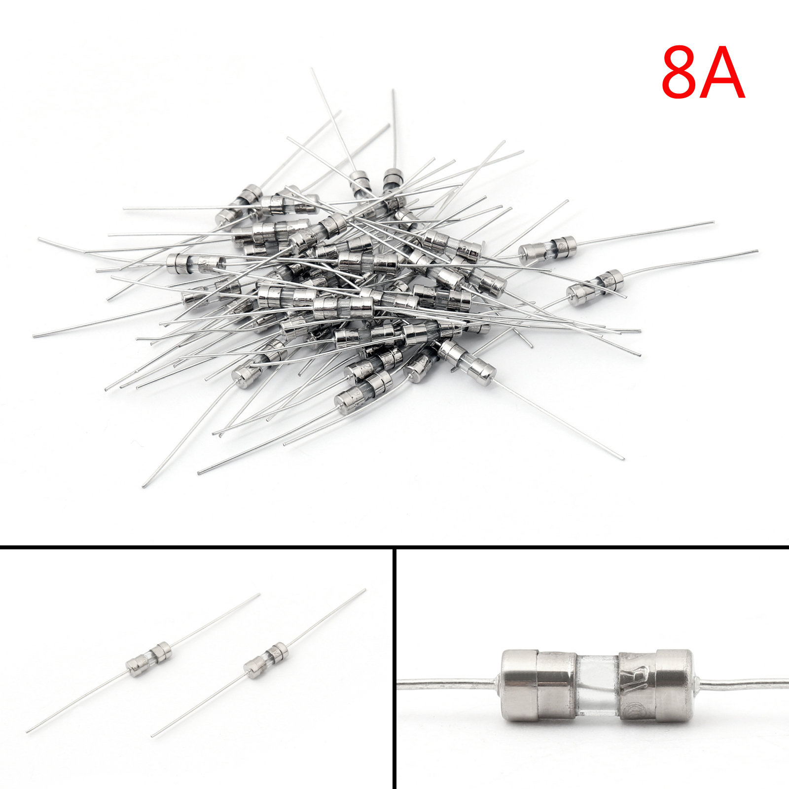 200Pcs Glass Tube Fuse Metal Axial Double Hat Fast Blow