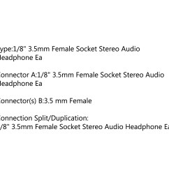 connector a 1 8 3 5mm female socket stereo audio headphone ea connector s b 3 5 mm female connection split duplication 1 8 3 5mm  [ 1600 x 1600 Pixel ]