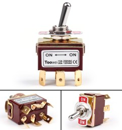 4pcs toowei 2 terminal 6pin on on 15a 250v toggle switch boot dpdt on three  [ 1600 x 1600 Pixel ]