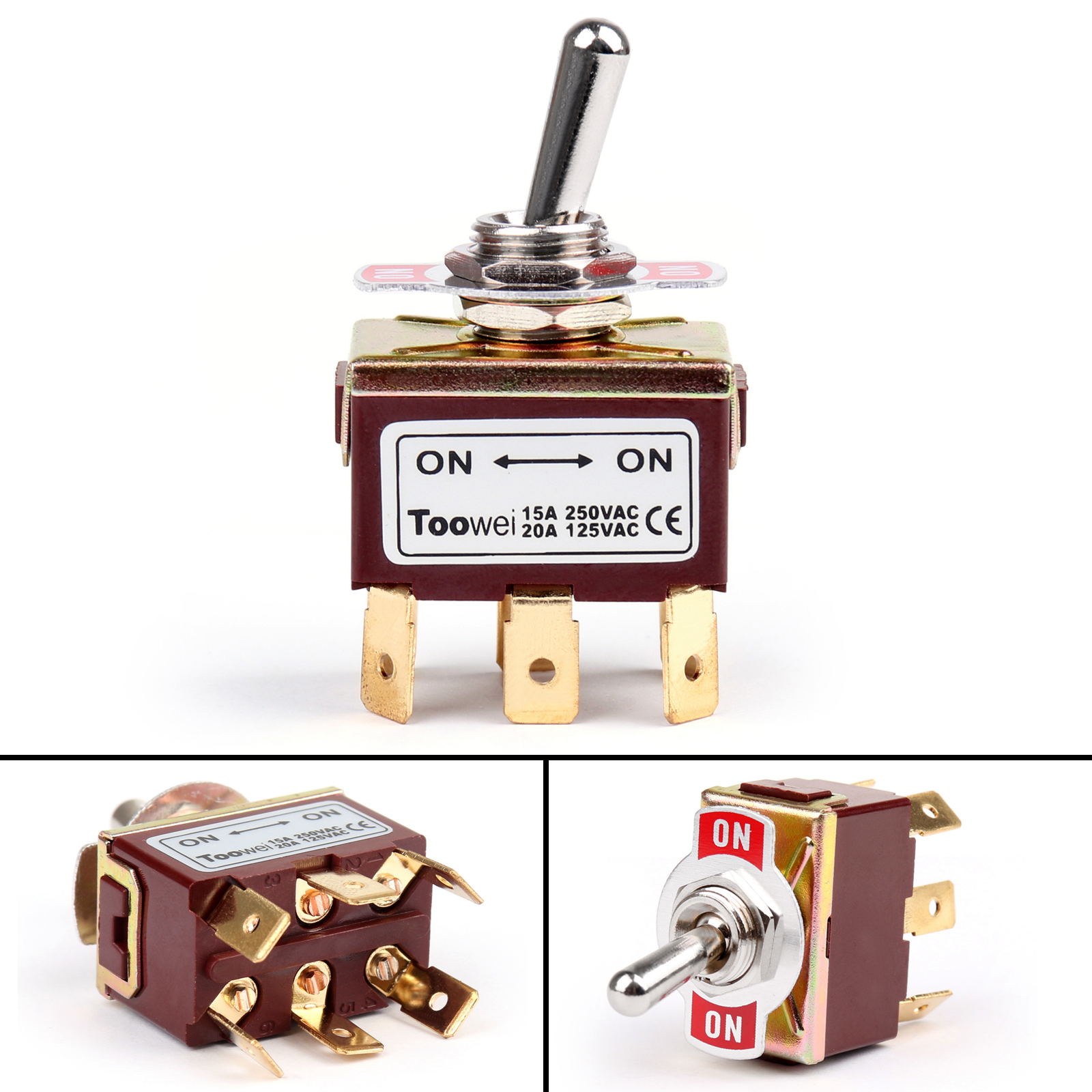hight resolution of  4pcs toowei 2 terminal 6pin on on 15a 250v toggle switch boot dpdt on three