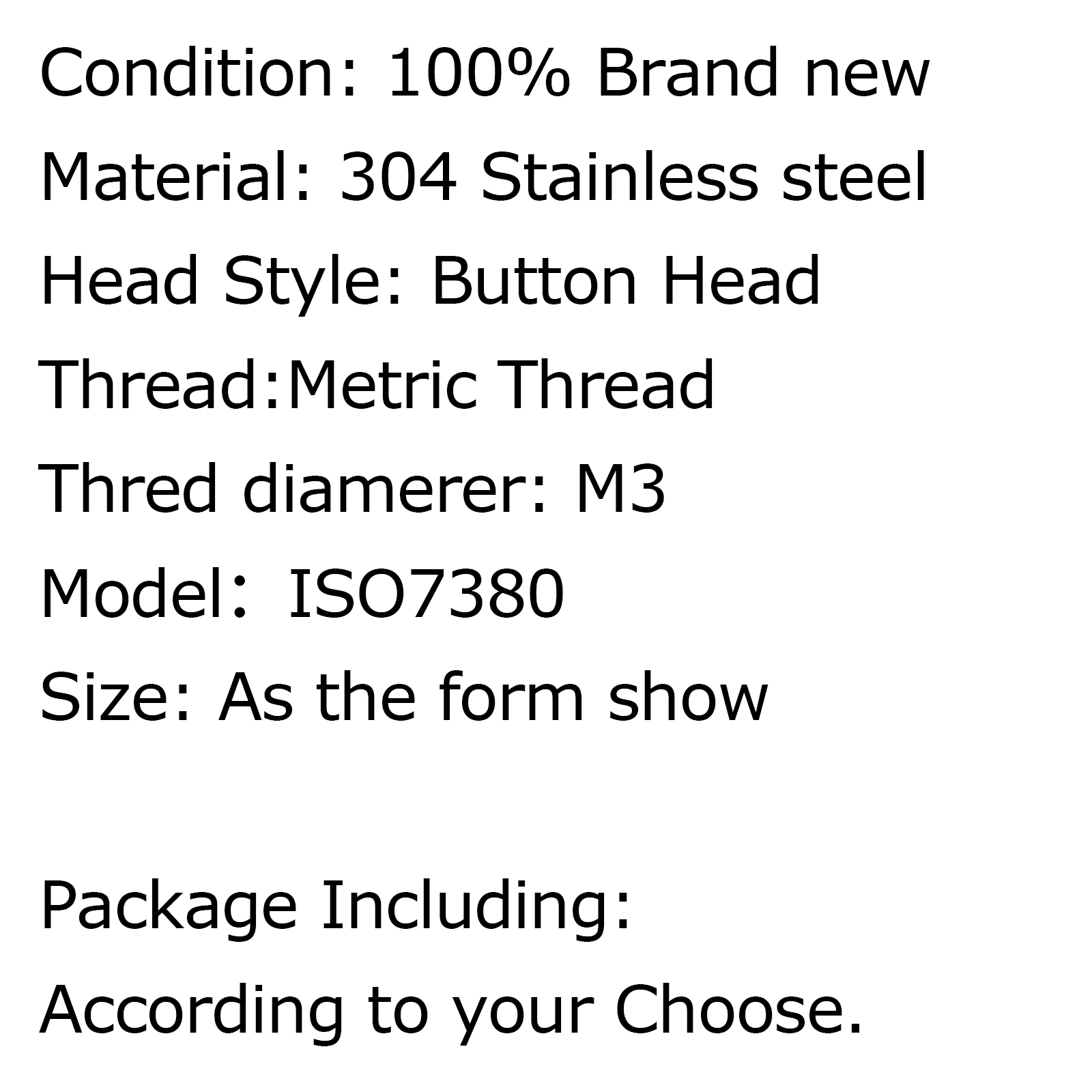 Metric M3 304 Stainless Steel A2 Button Head Hex Socket