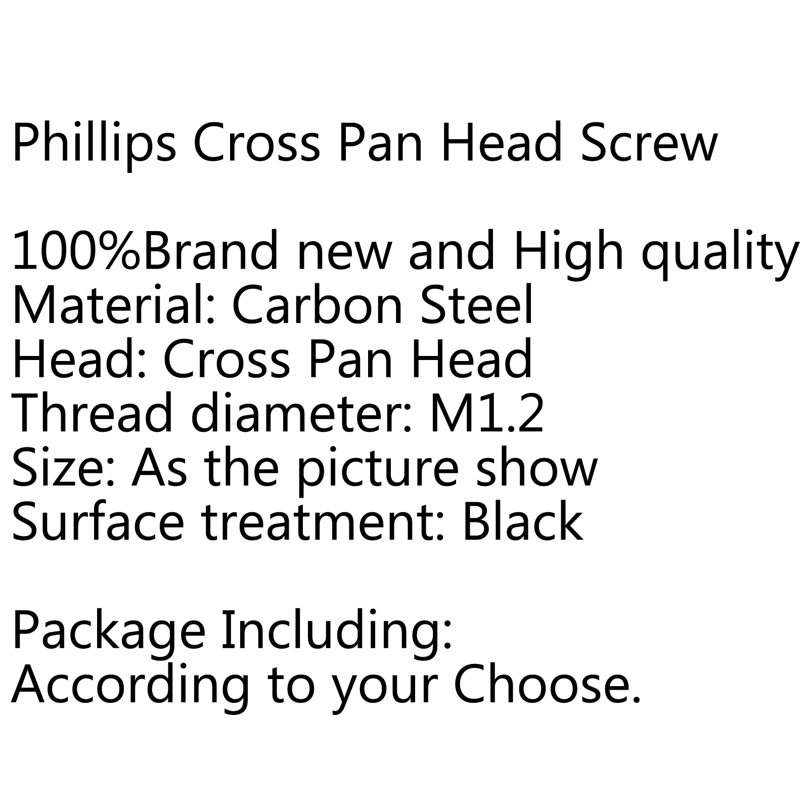 M1 2 Black Oxide Phillips Cross Pan Head Machine Small