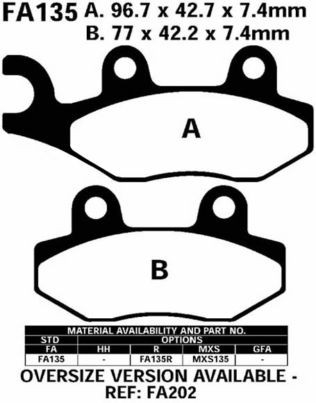 Brake Pads FA135 For HUSQVARNA CR 125 WR 250 TE 350 610 TC