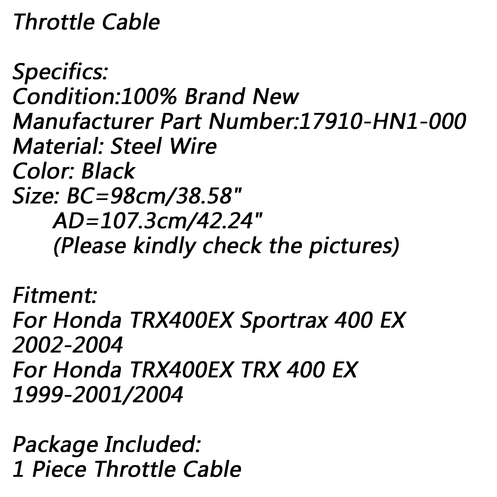 1xThrottle Cable Fits Honda Sportrax 400 TRX400EX 2002