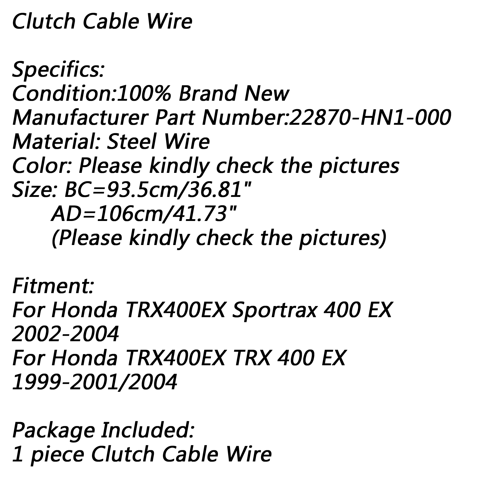 1x Black Clutch Cable Wire Fit For Honda TRX400EX Sportrax