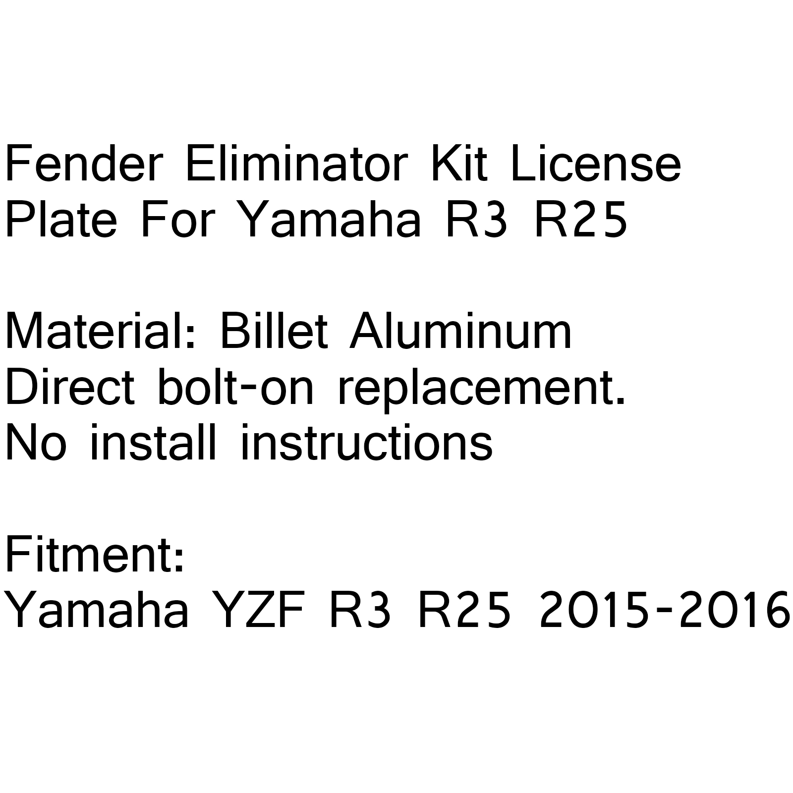 New Fender Eliminator Kit License Plate For Yamaha YZF R3