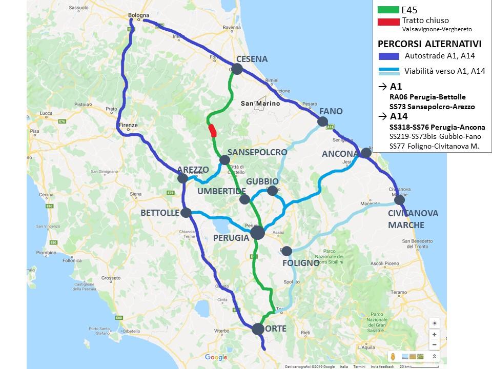 Chiusura E45, ANAS: i percorsi alternativi per il traffico sulla direttrice Orte-Cesena