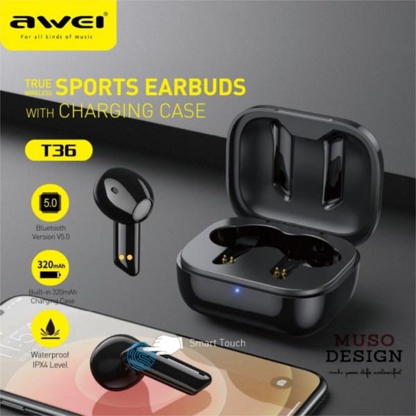 AWEI T36 TWS Wireless Bluetooth 5.0 Sport Earbuds
