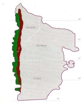 Imagen 1. Región del Bosque Andino Patagónico (sector verde en el mapa) y una vista de un bosque de lenga. El sector rojo en el mapa indica las tierras con aptitud forestal para la implantación de especies introducidas, principalmente pino.