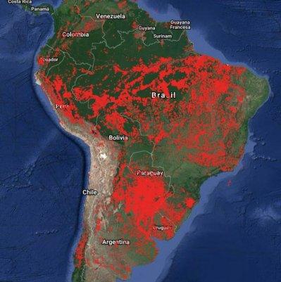 Fuego en America del Sur