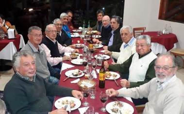 Hector Conte y ex trabajadores de la planta Celulosa Argentina 2018