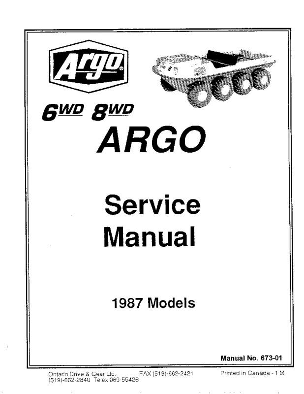 Argo Atv Parts and Service Manuals