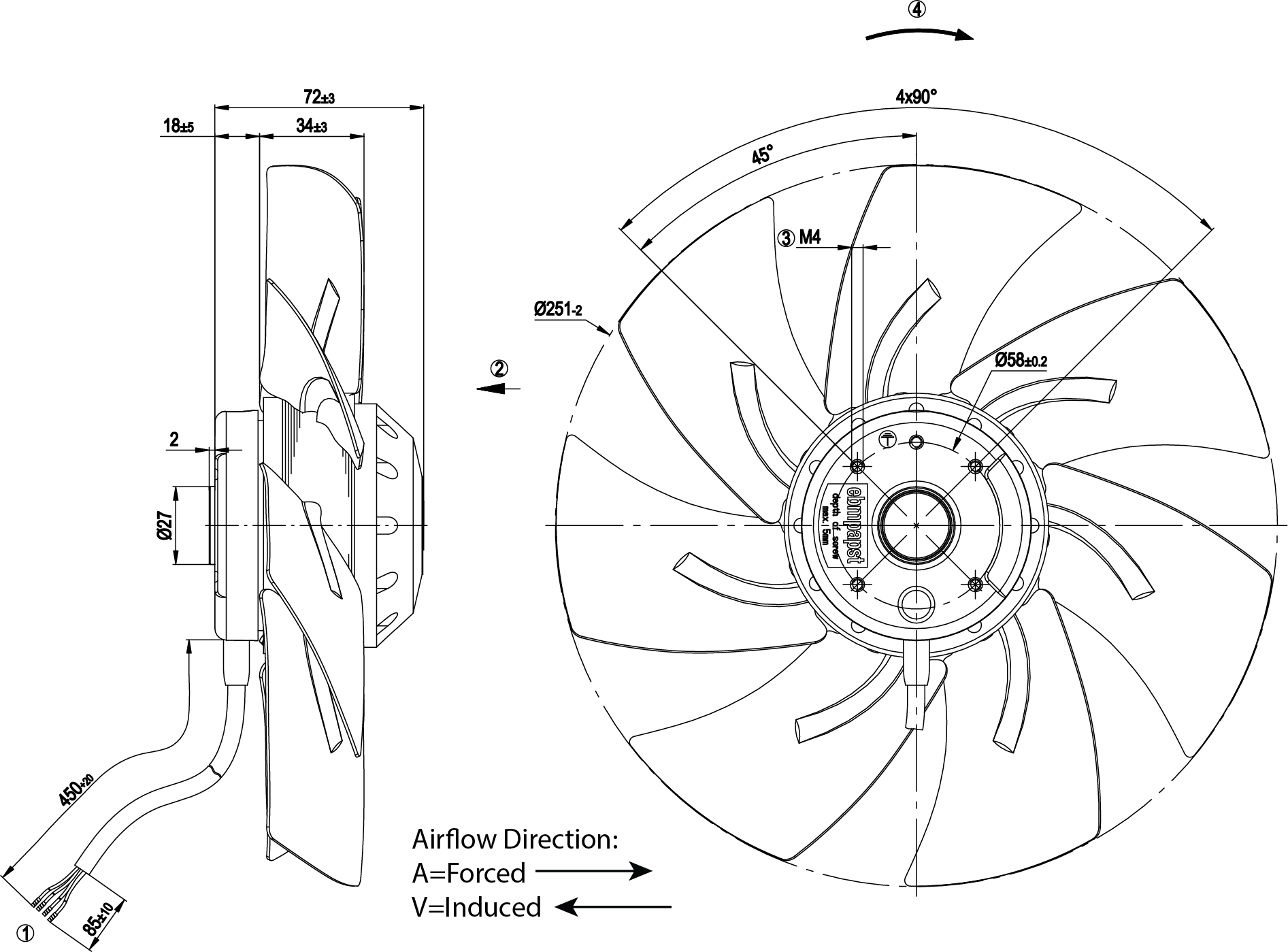 250mm Axial Fan Induced Airflow
