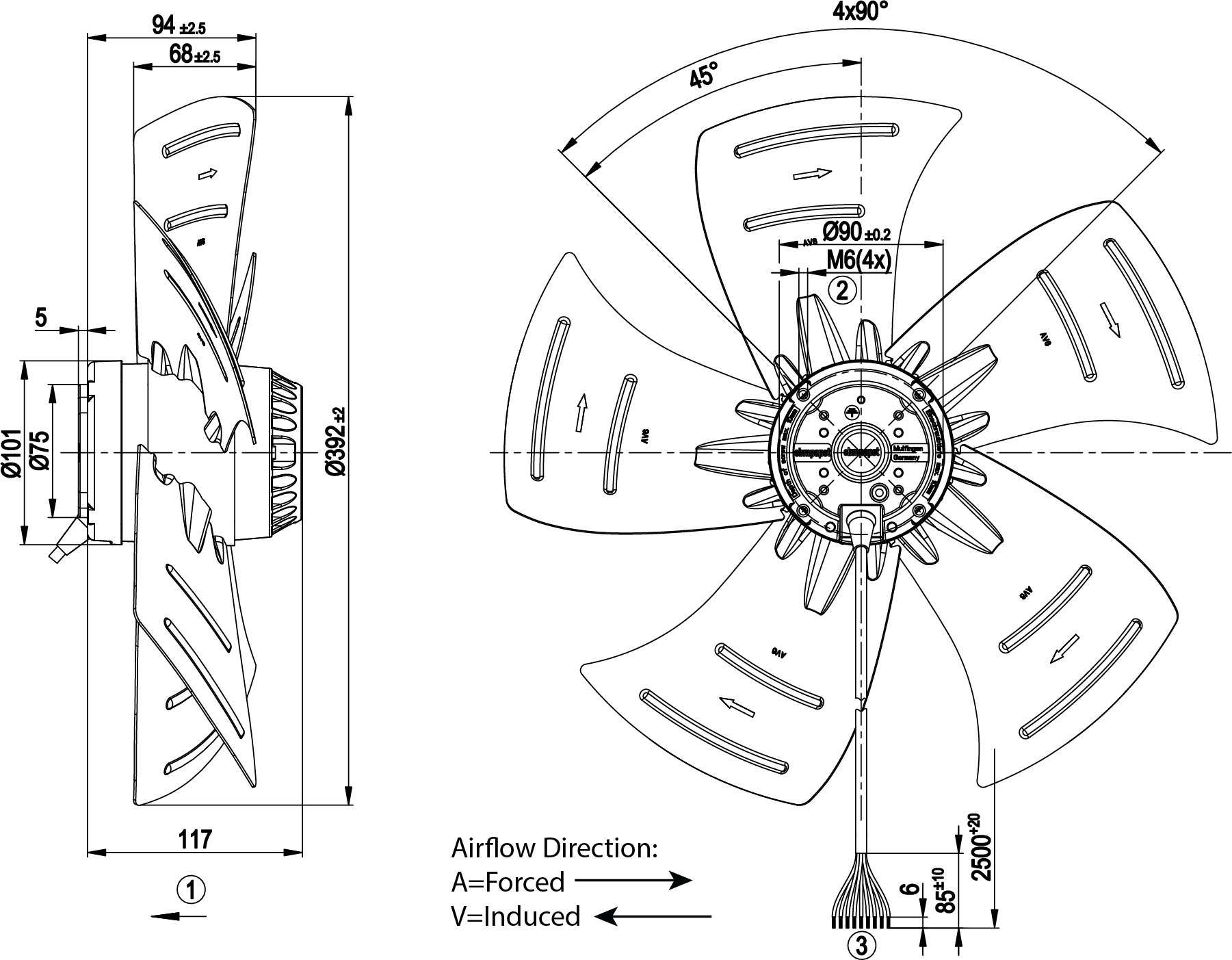 400mm Axial Fan Induced Air Flow 3ph 2 Speed