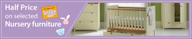 Half price on selected Nursery furniture. Prices shown already include discount. Subject to availability. Offer ends 25/09/2012.