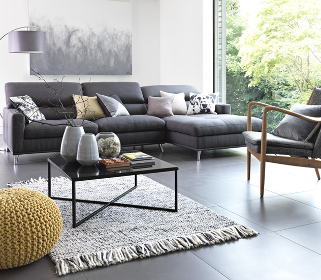 living room design with grey sofa nicely decorated rooms furniture and accessories argos large corner in area scatter cushions yellow knitted footstool