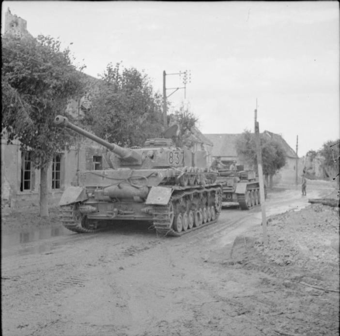 A Cromwell ARV towing a captured German PzKpfw IV tank, 6 July 1944.
