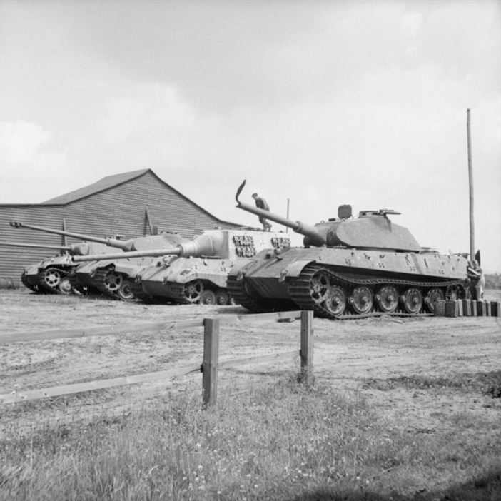 Four German heavy tanks at the Henschel tank testing ground at Haustenbeck near Paderborn, Germany, June 1945.