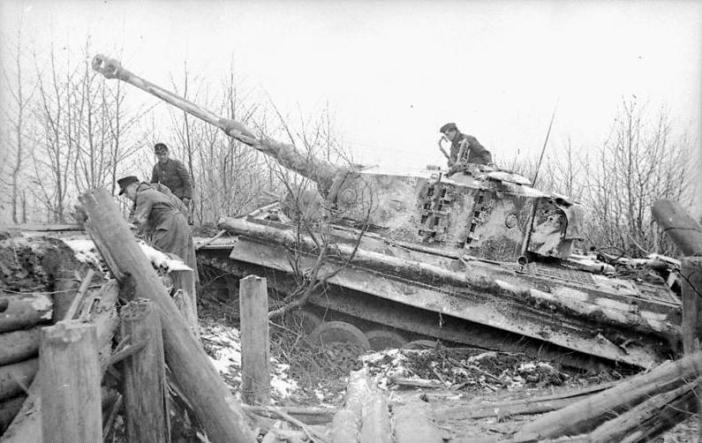 Russia, Tiger I in a fortified position or tank trap.