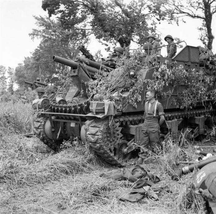 Priest 105mm self-propelled guns near Lion-sur-Mer, 6 June 1944.