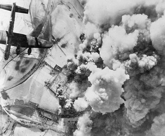 Aerial photograph of an attack by Royal Air Force Avro Lancaster bombers on St. Vith, Belgium, on 26 December 1944.