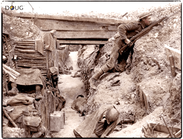 An infantryman of 'A' Company, 11th Battalion, The Cheshire Regiment, on sentry duty in a captured German trench near the Albert–Bapaume road at Ovillers-la-Boisselle, during the 'Battle of the Somme' in July 1916
