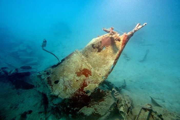 The World War II Helldiver, missing for over 70 years, was discovered in the waters of Palau. Pictured is debris around the tail section.