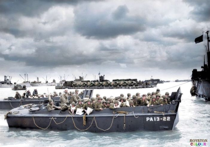 U.S. troops disembarking on Utah Beach, 6 June 1944. The LCVP in the foreground was assigned to the U.S. Navy attack transport USS Joseph T. Dickman (APA-13), which had sailed from England on 5 June and arrived off Utah Beach early the next day. Joseph T. Dickman landed her troops without a mishap, and steamed to Portland with casualties in the afternoon of 6 June 1944.