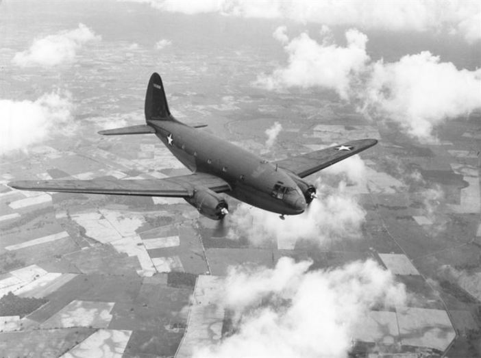 "Curtiss C-46 ""Commando"" in flight"