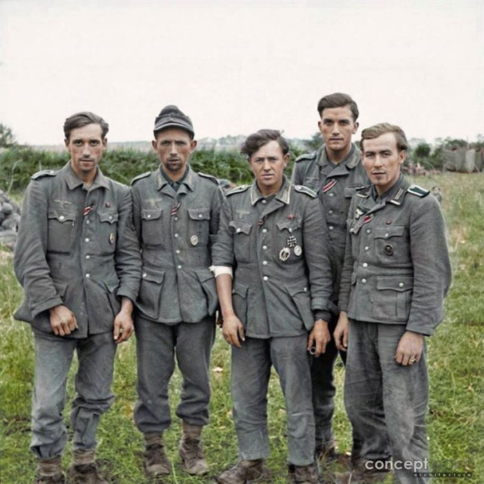 A group of veteran German prisoners captured at Maltot, south west of Caen, Normandy. ‪#‎IronCross‬ ‪#‎WoundBadge‬ 23rd of July 1944. We think that some or all of these 'Veterans' could be from the Grenadier Regiment 980 (formerly 348), 272nd Infantry Division (formerly the 216th), which had been decimated on the Eastern Front in July 1943. They all are showing the The Iron Cross 2nd Class medal ribbon. Three are wearing the Eastfront medal ribbon, three have the Wound Medal in Silver (2nd class) for being wounded three or four times). One has the Wound Medal in Black (3rd class, representing Iron) for those wounded once or twice by hostile action). The Grenadier in the centre also wears the Iron Cross 1st Class and a Silver Assault Badge. (Source - © IWM B 7928 - Sgt. J Mapham J - No 5 Army Film & Photographic Unit)