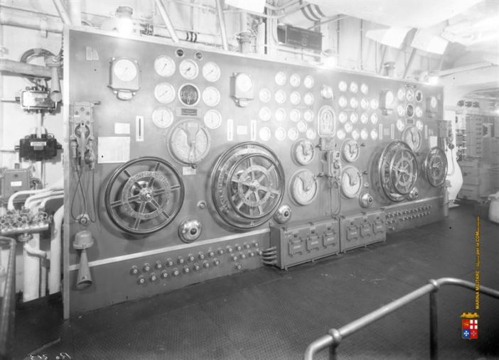 Seldom images of Battleship Roma's engine and boiler rooms.
