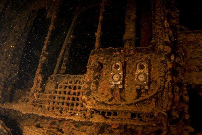 Inside the Fujikawa Maru shipwreck. (Credits: Brandi Mueller)